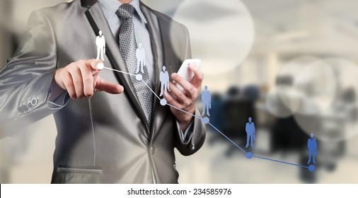 Businessman pressing on digital virtual screen, human resource management concept