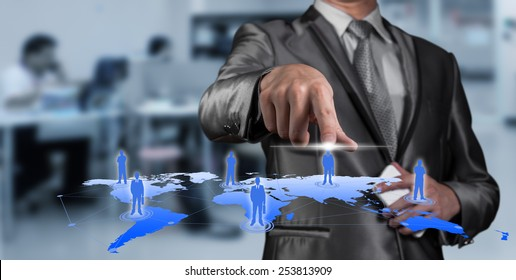 Businessman pressing on digital virtual screen, human resource management concept