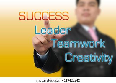 Businessman pressing on Success