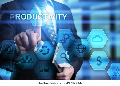 Businessman is pressing on the virtual screen and select Productivity.