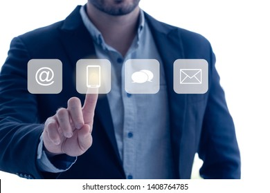 businessman pressing on Visual screen phone button, Social Media contact us concept