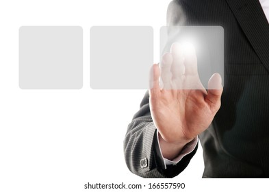businessman pressing one of the three buttons on a virtual background