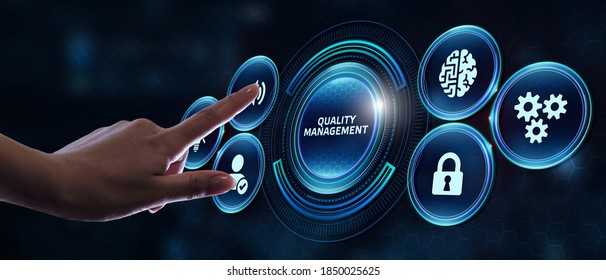Businessman pressing quality management button on virtual screens. Business, Technology, Internet and network concept.