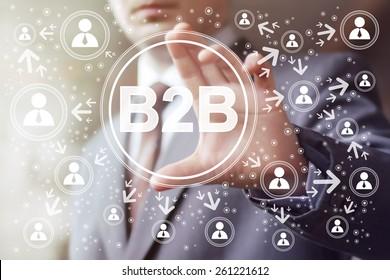 Businessman pressing sign button b2b icon web