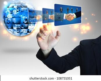 Businessman pressing Successful business