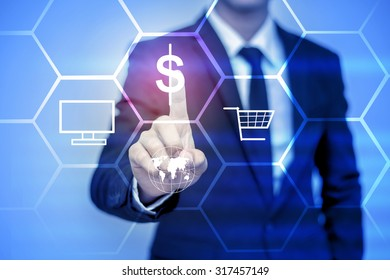 businessman pressing support button on virtual screen