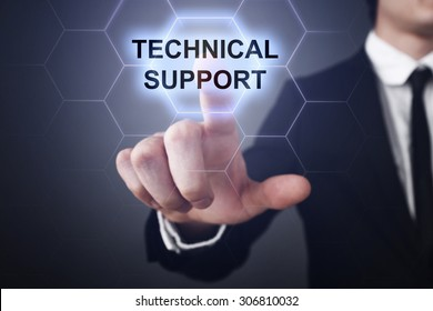 "Businessman pressing touch screen interface and select icon ""technical support"". Business concept. Internet concept."