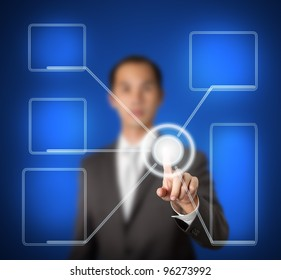 businessman pressing touchscreen interface to connect modern computer system