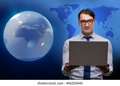Businessman pressing virtual buttons in global business concept