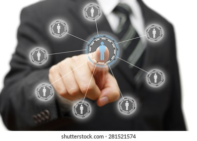 businessman is pressing virtual person, concept of management,staffing,marketing
