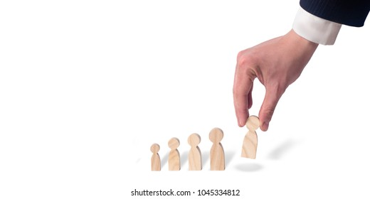 The businessman prioritizes. Building a career. The concept of personnel selection and management within the team. Dismissal and hiring people to work. Human Resource Management. Headhunter