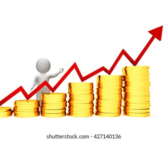 Businessman Profits Representing Success Successful And Charts 3d Rendering
