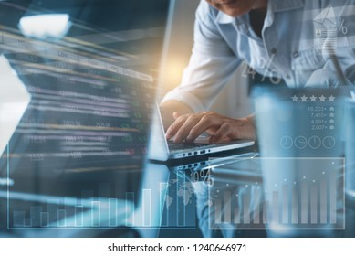 Businessman, project manager working on laptop computer. Business team working in modern office, analyze stock market with financial graph computer dashboard interface. Business analysis concept