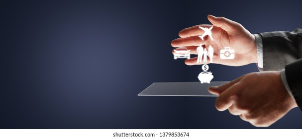 Businessman with protective gesture