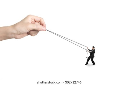 Businessman pulling rope against big woman hand, isolated on white.