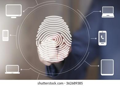 Businessman push button fingerprint print computer