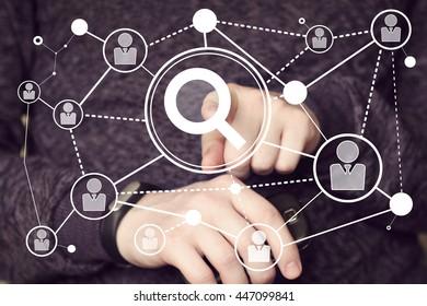 Businessman push button search magnifier loupe network