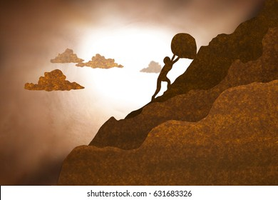 Businessman push large boulder up to hill  in brown paper silhouette style.