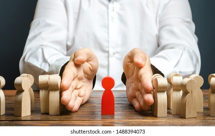 A businessman pushes a crowd of people and finds the right person. Identify disloyal, repression, dissent. toxic, non-competent worker. manages the business. Candidate for work talent. Human resources