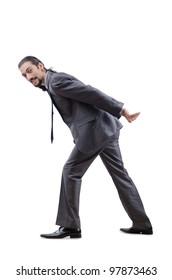 Businessman pushing away virtual obstacles