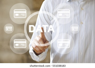Businessman pushing button data icon credit card web network