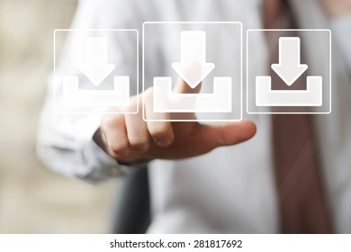 Businessman pushing button virtual download icon