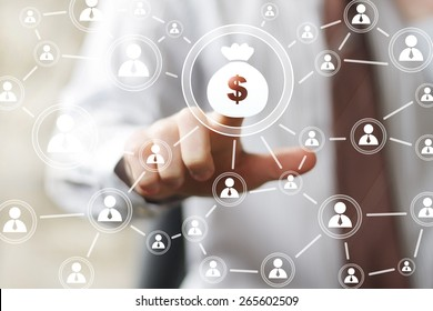 Businessman pushing button web with dollar sign virtual