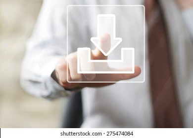 Businessman pushing button web download icon