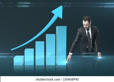 businessman pushing chart  interface on table