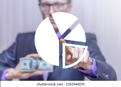 Businessman pushing a circle diagram virtual button and holding a dollar banknote. Market segmentation business finance concept. Cycle chart financial analysis and report.