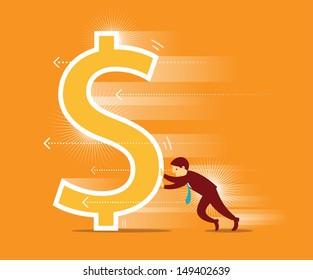 Businessman pushing dollar sign