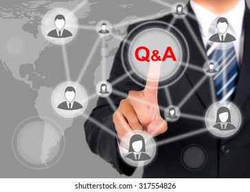 Businessman pushing on a touch screen interface on Question and Answer button