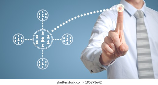Businessman pushing pressing computer technology social network or networking button