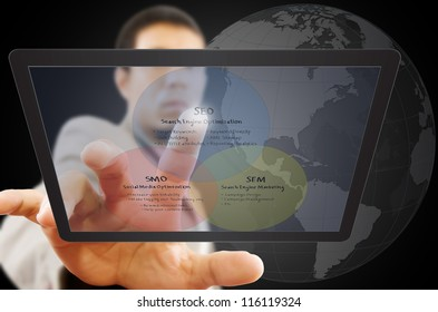 Businessman pushing SEO process on the Touchscreen Interface.