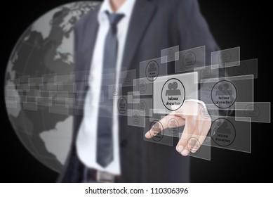 Businessman pushing Social Network button.