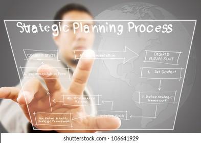 Businessman pushing strategic planning on tablet screen.