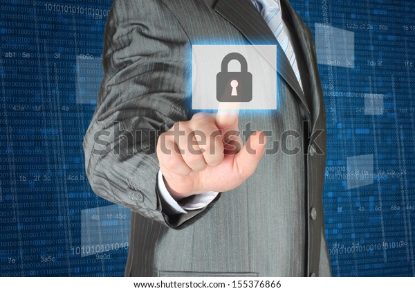 Businessman pushing virtual security button on digital background