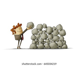 Businessman puts a stone on top of others, metaphor of effort and success in business. isolated, white background.