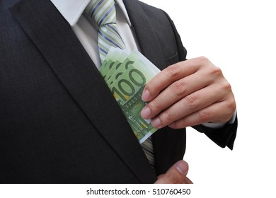 Businessman putting euro banknotes in suit pocket isolated on white background, bribe and corruption concept.