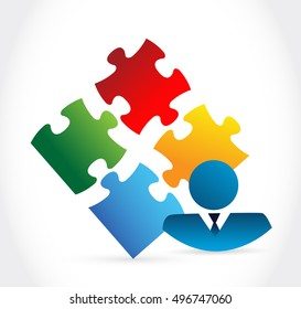 businessman and puzzle pieces illustration design over a white background