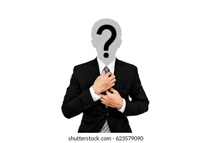 Businessman with question mark on head, on soft grey background