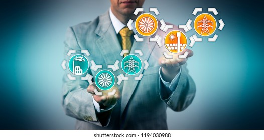 Businessman raising electric power generation via concentrating solar power above electricity generated by a coal fired power plant. Industry concept for renewable resources and energy transition.
