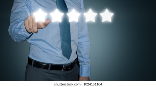 Businessman rating customer experience giving five stars