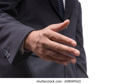 Businessman reach out his hand for shaking with other, business concept for collaboration, teamwork, trust, agreement in business