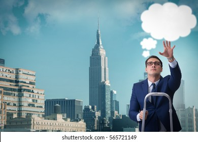 Businessman reaching out to callout message