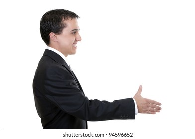 businessman reaching out to shake hands on white background