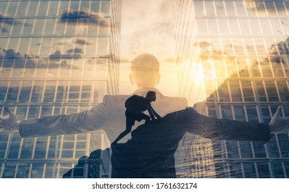 Businessman reaching for success and overcoming obstacles concept.