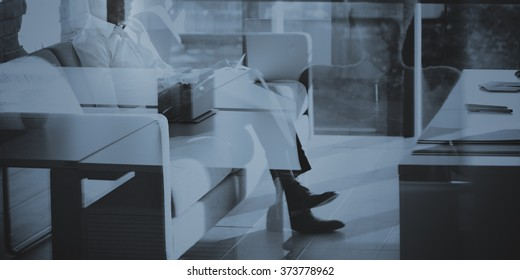 Businessman Reading Thinking Planning Working Strategy Concept