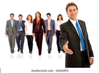 Businessman ready to hand shake with his teamwork behind isolated on white