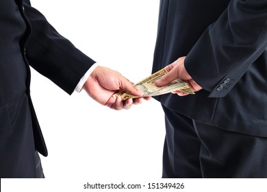 Businessman receive money by his back concept for corruption